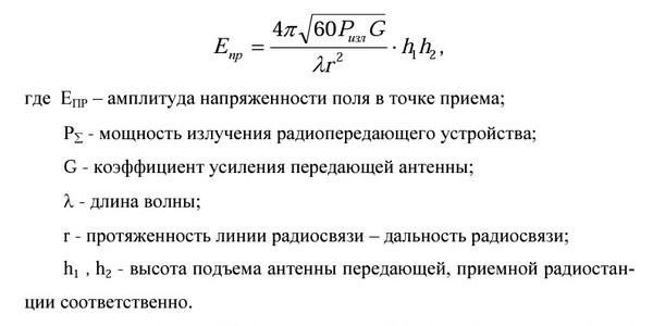 формула дальности укв связи